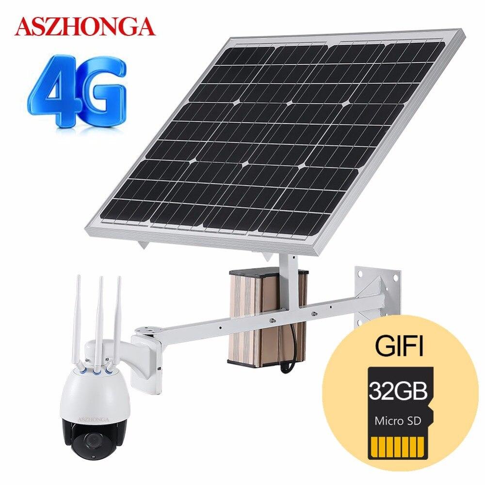 4G 3G SIM Senza Fili 1080P HD Macchina Fotografica del IP di WiFi PTZ Solare P2P Macchina Fotografica Esterna del CCTV di Sicurezza Della Macchina Fotografica 60W di Energia solare Pannello 32GB Carta di TF