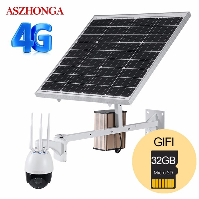 4G 3G SIM Wireless 1080P HD WiFi PTZ Solar IP Camera P2P Outdoor Camera CCTV Security Camera 60W Solar Power Panel 32GB TF Card