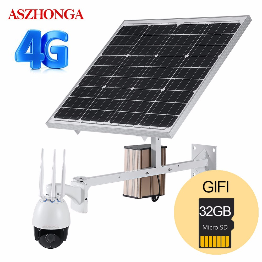 4G 3G SIM sans fil 1080 P HD WiFi PTZ caméra IP solaire P2P caméra extérieure CCTV caméra de sécurité 60 W panneau d'énergie solaire 32 GB TF carte