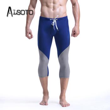 Męskie spodnie do biegania Body sculpting fitness sportowy rajstopy odzież sportowa sexy elastyczne spodnie Skinny Hombre spodnie rybaczki do jogi odzież sportowa tanie i dobre opinie ALSOTO NYLON CN (pochodzenie) Bieganie Pasuje prawda na wymiar weź swój normalny rozmiar Stałe 55381122796299 capri pants