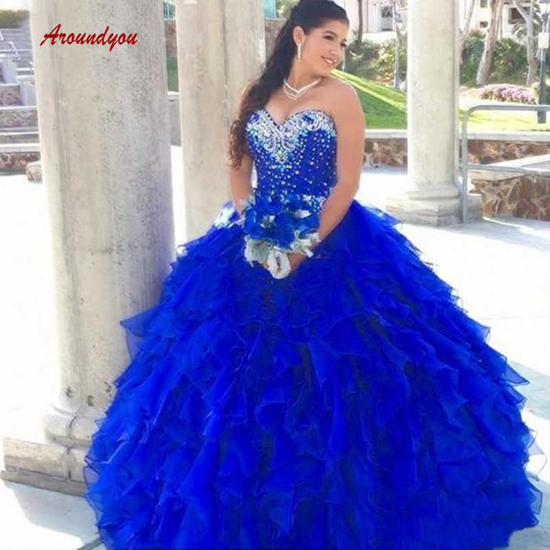 b1a381cb071 Luxury Quinceanera Dresses Ball Gown Royal Blue Crystal Tulle Sweetheart  Prom Debutante Sweet 16 Dress vestidos