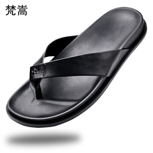 casual Flip Flops Slippers Mens Summer Comfortable Beach Shoes fender summer men genuine leather slippers all-match cowhide