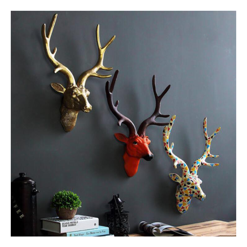Creative Style Deer Head Wall Hanging Statue Animal Figurine Sculpture For Home Decorations Attic Ornaments Bar