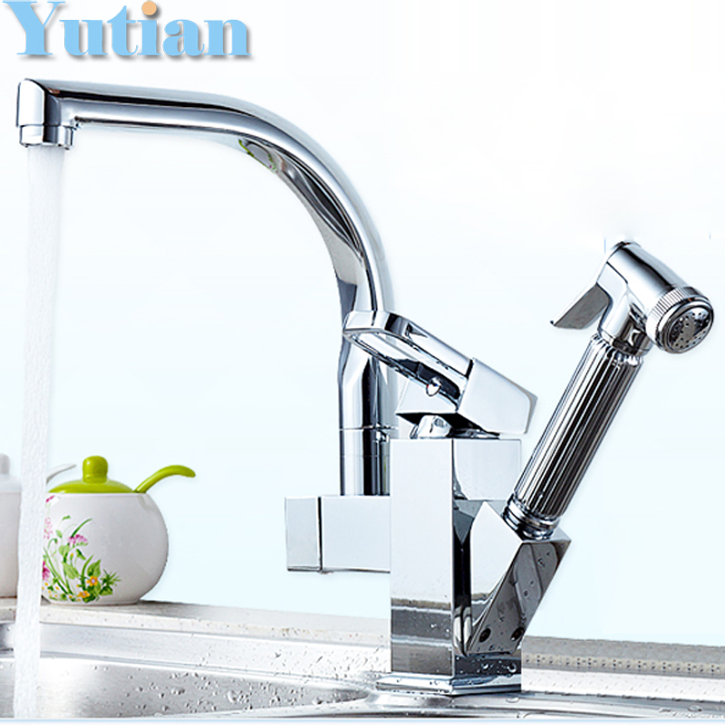 Free Shipping pull out kitchen faucet Solid Brass Thicken Chrome 360 degree Swivel kitchen sink tap