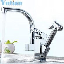 Бесплатная Доставка вытащить кухня faucet. Solid Латунный Сгущает Chrome 360 градусов Поворотный кухня раковина нажмите torneira. YT-6014