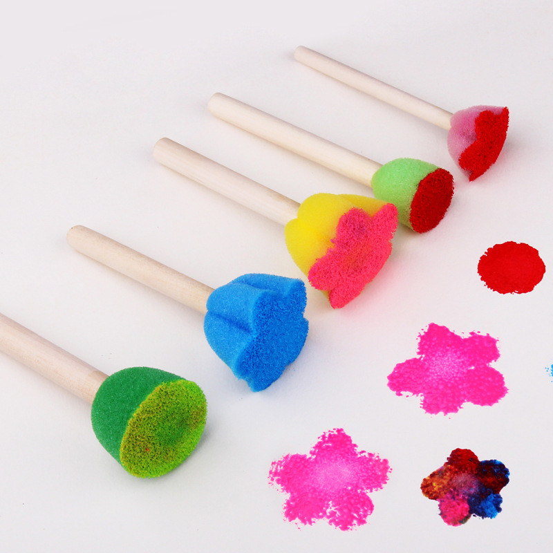 5Pcs/Set Creative Sponge Brush Drawing Toys Baby Colorful Flower Pattern Sponge Seal Children Art DIY Painting Tools