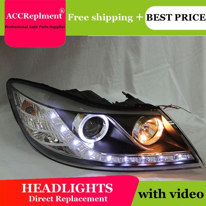 Авто PRO 2009 2012 для skoda octavia фары для автомобиля Стайлинг U LED свет руководство ангельские глазки DRL Парковка для octavia a 5 головная лампа - 4