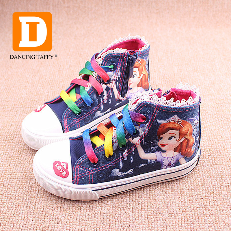 New Beauty Children s Shoes Girls 2019 Sofia Princess Cartoon Running  Sneakers Fashion Canvas Kids Flat Sneaker For Girls Boots-in Sneakers from  Mother ... 2db523fcc