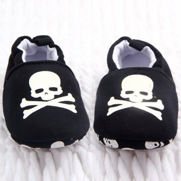 Newborn Baby Boys Girls First Walkers Prewalker Infant Baby Unisex Skull Pirate Print Cotton Soft Bottom Shoes