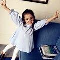 3 4 5 6 7 8 9 10 11 12 13 Años Camisa para Niñas Primavera 2017 de Rayas Precioso School Girl Blusa Niños Ropa Meisjes Blusa