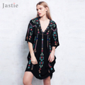Jastie 2017 Boho Dress Summer/Autumn V-Neck Vintage Embroidery Women Dresses Hippie Chic Loose Casual Beach Vestidos