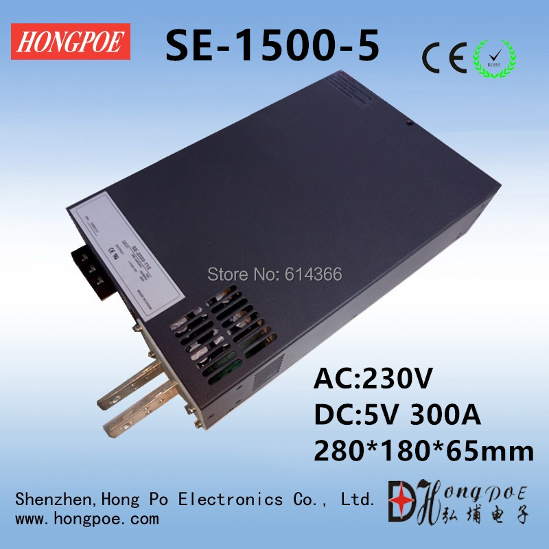 1PCS 1500W 300A 5V Power Supply 5V Driver for LED Strip AC-DC 110VAC 220VAC 277VAC Input to DC 5V 300A SE-1500-5 power supply 24v 800w dc power adapter ac110 220v non waterproof led driver 33a ups for strip lamps wholesale 1pcs