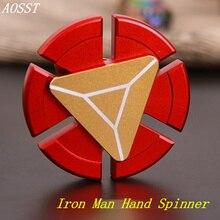 (AOSST) Metal Iron Man Hand Spinner Fidget Spinner Finger Spinner Stress Wheel Fidget Toy