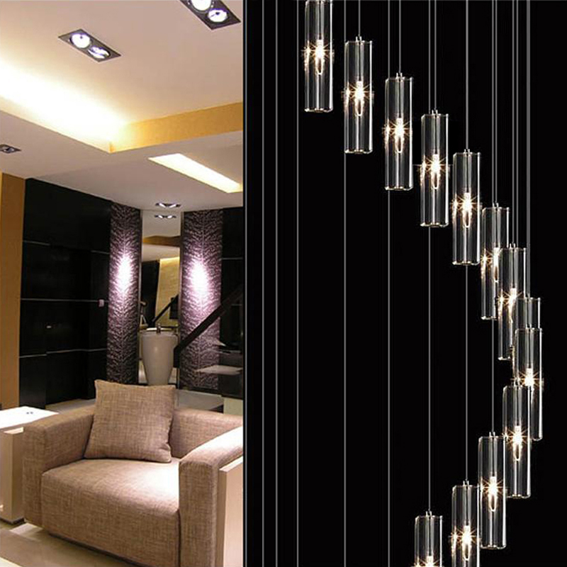 Aliexpress Buy Chandelier Led Modern Living Room Lamps Crystal Lamp Stairway Lighting Long Spiral Chandeliers Light Home From