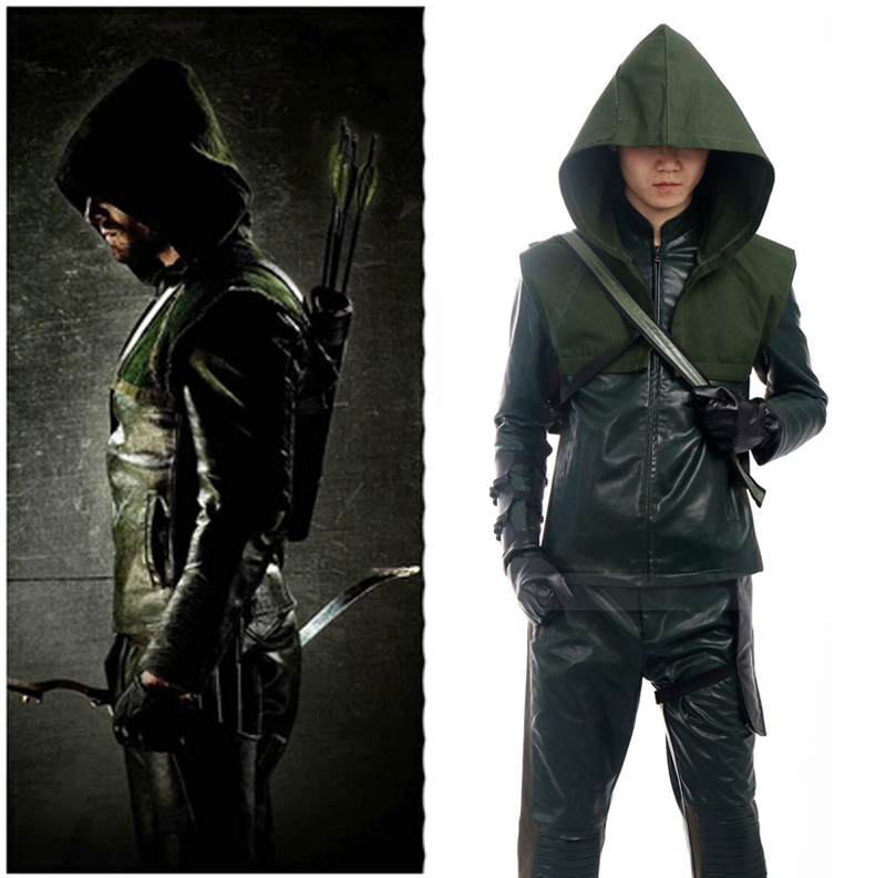 Green Arrow Oliver Queen cosplay costume for men Movie costume PU jacket Track suits Carnival costume