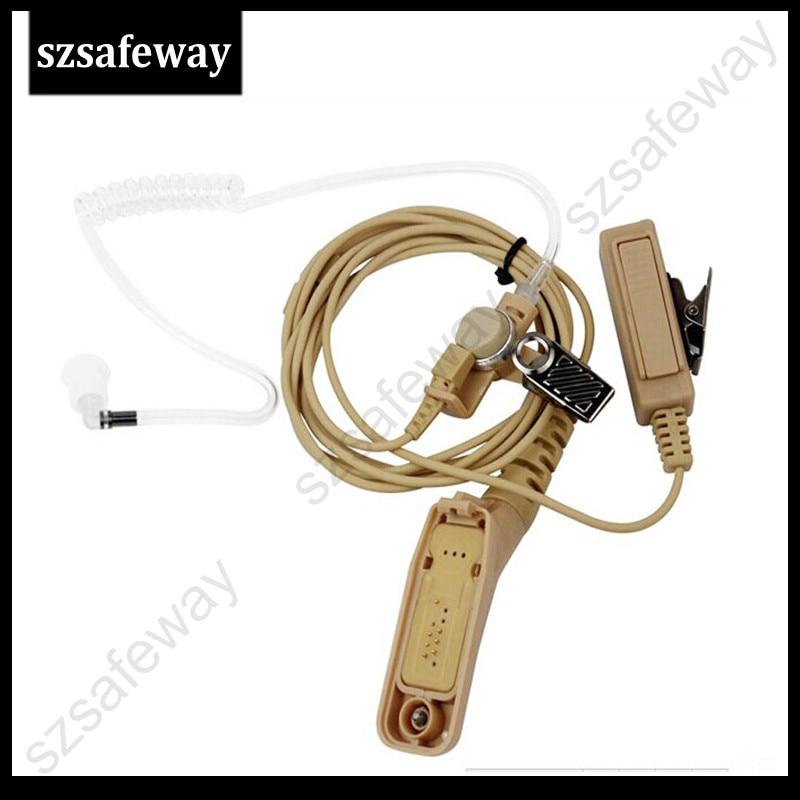 Beige Walkie Talkie Headset Acoustic Tube Earpiece Mic For Motorola Two Way Radio XIR P8268 P8260 P8200 XPR6550 XPR6300 DP3400