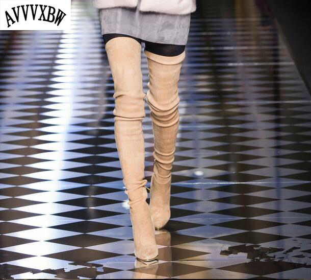 AVVVXBW 2016 Brand Women Boots Winter Over-the-Knee Boots Shoes Woman Sexy High-heeled Thigh High Boots Botas Femininas C323 avvvxbw 2016 new brand long boots fashion elastic over the knee boots shoes woman square heel genuine leather thigh high boots