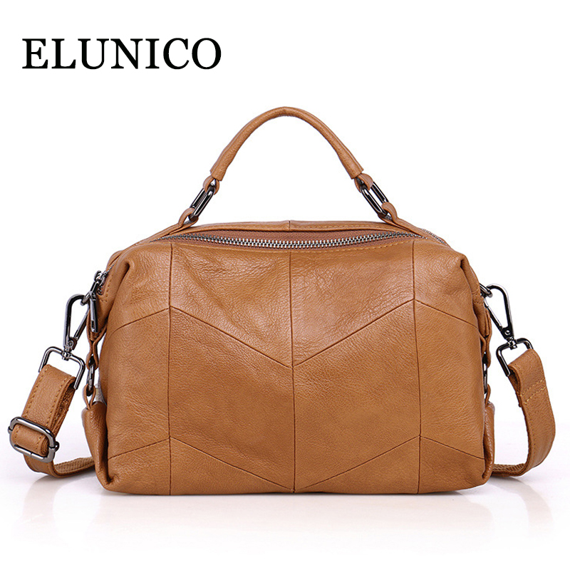 ELUNICO Genuine Leather Handbag 2018 Summer Luxury Handbags Women Bags Designer Tote Bag Ladies Messenger Shoulder Bag Bolsos ladies genuine leather handbag 2018 luxury handbags women bags designer new leather handbags smile bag shoulder bag