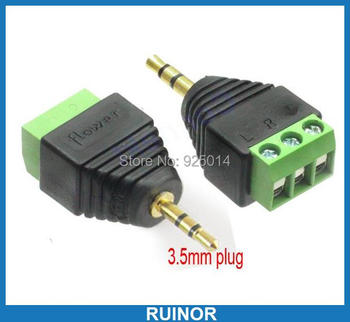 50pcs x 3pin 3.5mm 1/8' Stereo Plug To Screw Audio Video Balun Terminal Binding Post