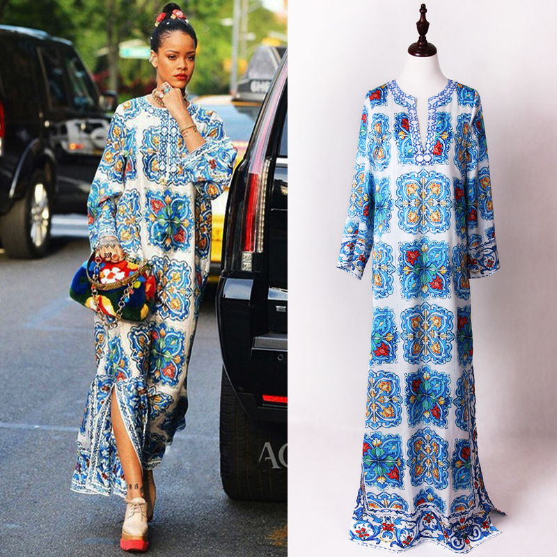S-4XL High Quality 2019 New Fashion Runway Blue And White Printing Hand-Beaded V-Neck Long-Sleeved Loose Hem Slit Dress Women