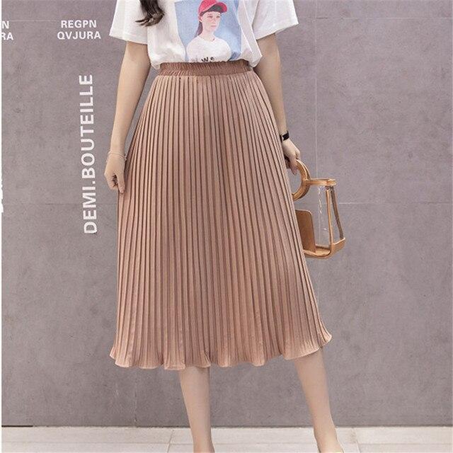 7de783cc491 Женская шифоновая юбка летние тонкие однотонные плиссированные юбки  Повседневные женские s Saias Midi Faldas винтажные элегантные