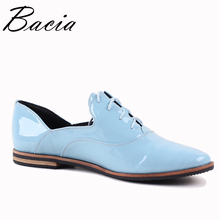 Bacia New Handmade shoe 2017 Blue Loafers Women Shoes Casual Work Driving Shoes Women Flats Genuine Leather Flat Plus Size SB068