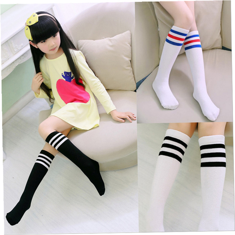 Kids Knee High Socks Girls Boys Football Stripes Cotton Sports School White Socks Skate Children Baby Long Tube Leg Warm