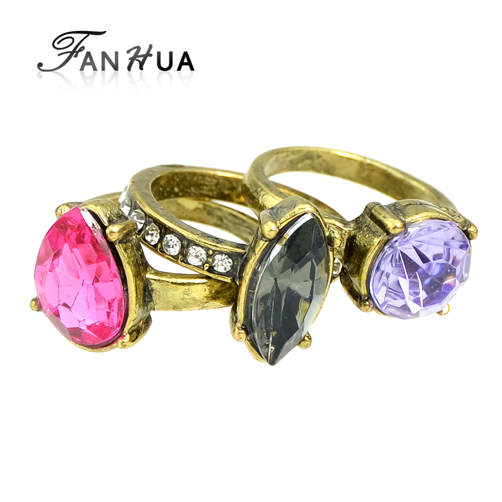 3 pcs set vintage style antique gold color colorful Vintage style fashion rings