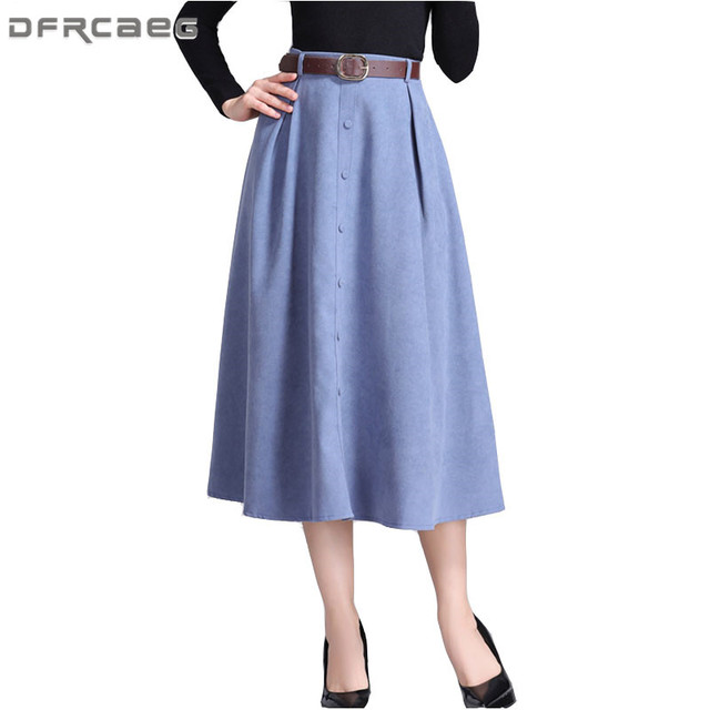 ecf4a848f5 High Waist Suede Skirt Women Winter 2018 Fashion Mid-Long Pleated A-Line  Skirts With Belt Casual Ladies Black Saias Midi