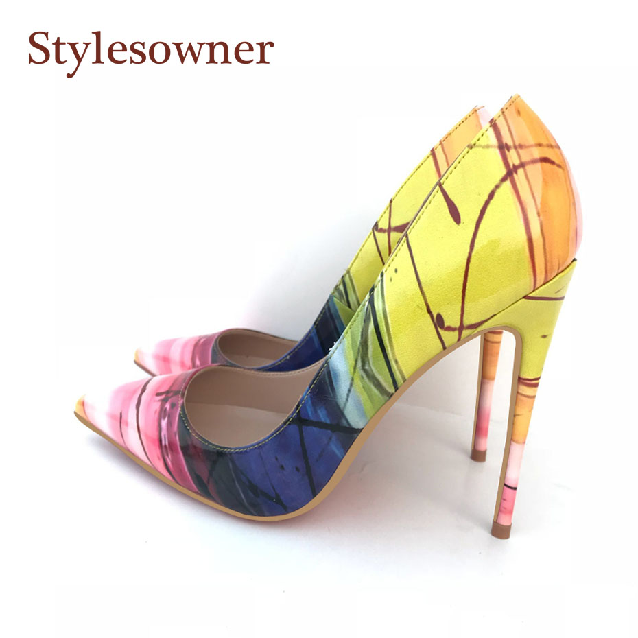 Stylesowner Top Sexy Lady New Pumps Shoes Sexy 12cm Heel Shallow Mouth Pointed Toe Party Shoe Yellow Color Match Nice Shoe Mujer korean woman high heel pointed toe solid mujer pumps shallow mouth square heels womens shoes work office lady all match tacones