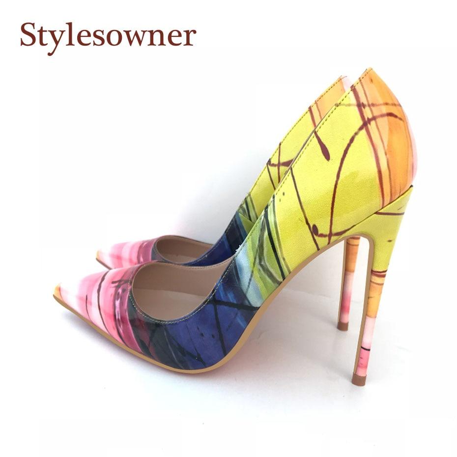 Stylesowner/Новые пикантные женские туфли лодочки пикантные Вечерние туфли на каблуке 12 см с закрытым острым носком красивая обувь желтого цвета Mujer