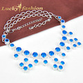 Luckyshine New Arrive Fire Trendy Necklaces Fashion Women Jewelry Link Chain Collar Shiny Blue Created Topaz Statement Necklaces