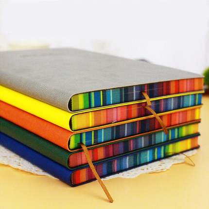 Cute Notebook A6/A5/16K Leather Journal Daily Planer Memos Hardcover Notebook Thick Paper Rainbow Edge Note Book Stationery