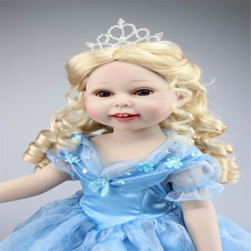 18inch 45cm Silicone baby reborn dolls, lifelike doll reborn babies toys for girl princess gift brinquedos Children's toys 18 inch soft american girl dolls princess doll 45 cm lovely lifelike baby toys for children present