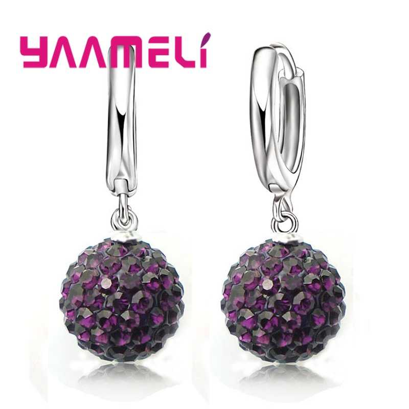 New Fashion Super Shiny Colorful Cubic Zirconia Earrings Jewelry For Women Girls Present 925 Sterling Silver Crystal