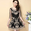 Black mesh embroidery dress new arrival woman fashion 2017 dress O-neck half sleeve  vintage sexy slim mini dress female M-4XL