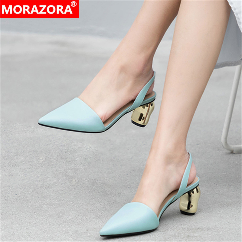 MORAZORA 2019 top quality genuine leather women sandals pointed toe high heels shoes slip on summer elegant party shoes woman MORAZORA 2019 top quality genuine leather women sandals pointed toe high heels shoes slip on summer elegant party shoes woman