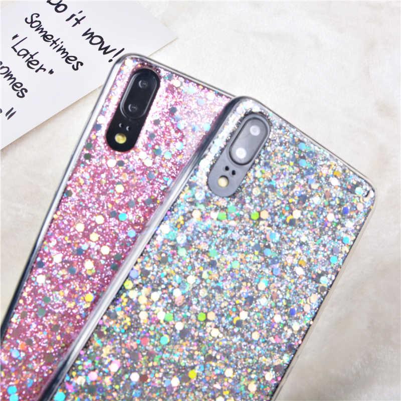 Caso Para Huawei Nova 3 2i P Inteligente P20 Pro P10 P9 P8 Lite 2017 Honra 7A 7C 8 9 10 Y5 Y6 Y7 2018 Silicone Glitter Lantejoulas Cristal