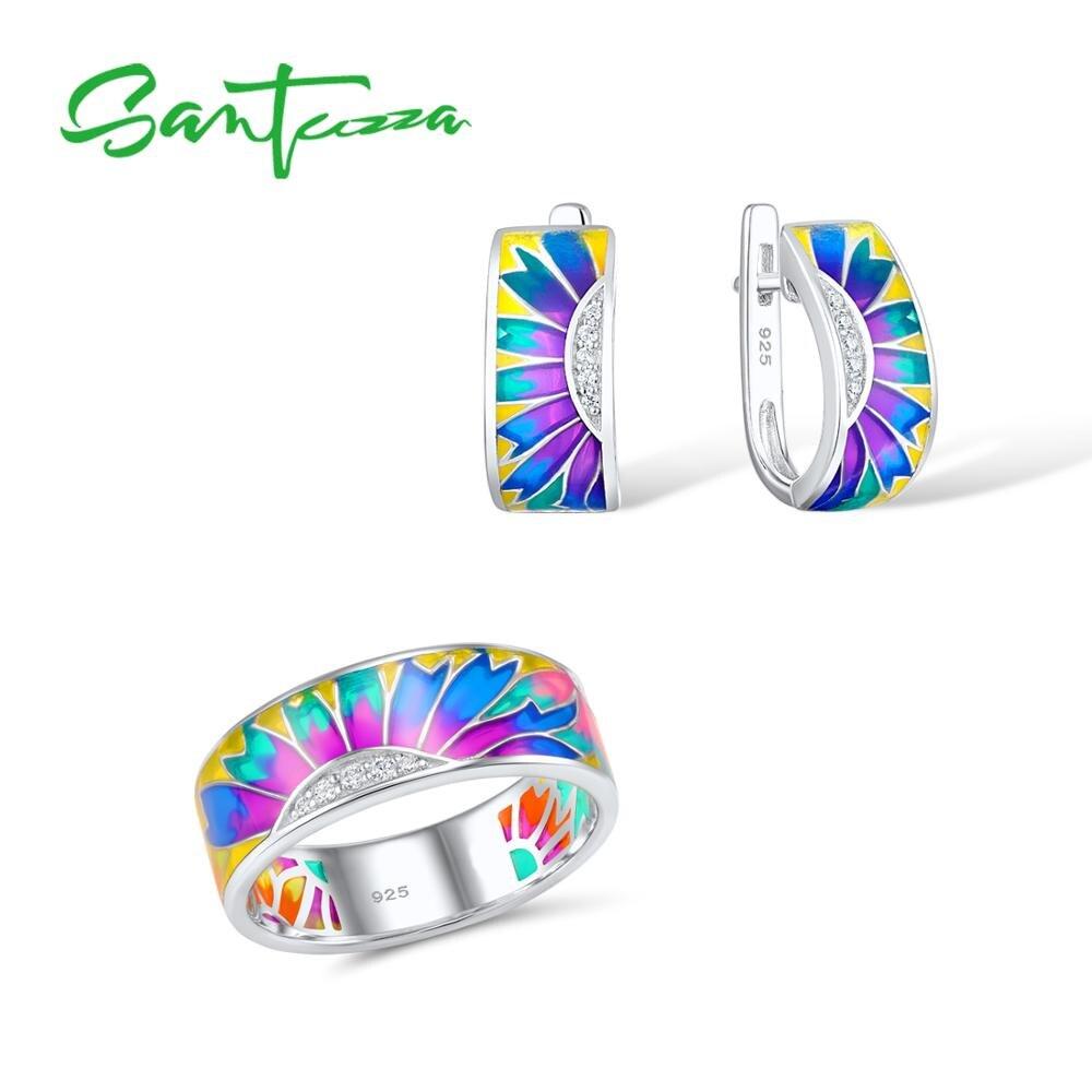 Santuzza Jewelry Set HANDMADE Colorful Enamel White CZ Stones Ring Earrings 925 Sterling Silver Women Fashion Jewelry Set