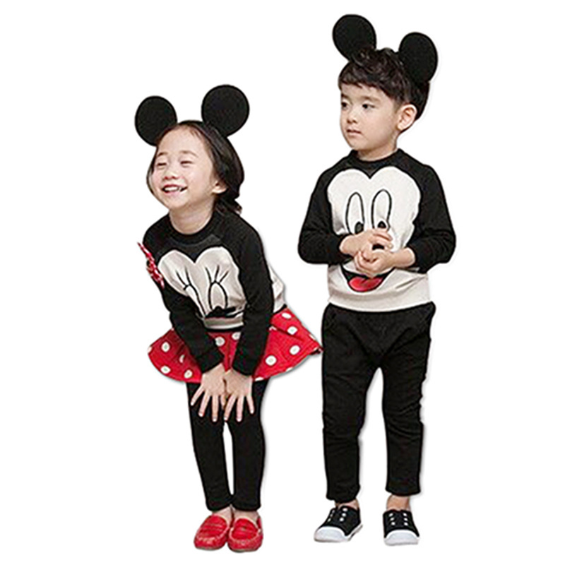 2016 Mickey Minnie clothing girl boy kids spring autumn long sleeve casual hoodies sweatshirt 2pcs sets 3D bow pants or legging