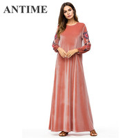 ANTIME Flower Woman Long Dress Brief Elegant Velvet Round Neck Long Sleeve Ramadan Clothing Embroidery Maxi Dresses Winter