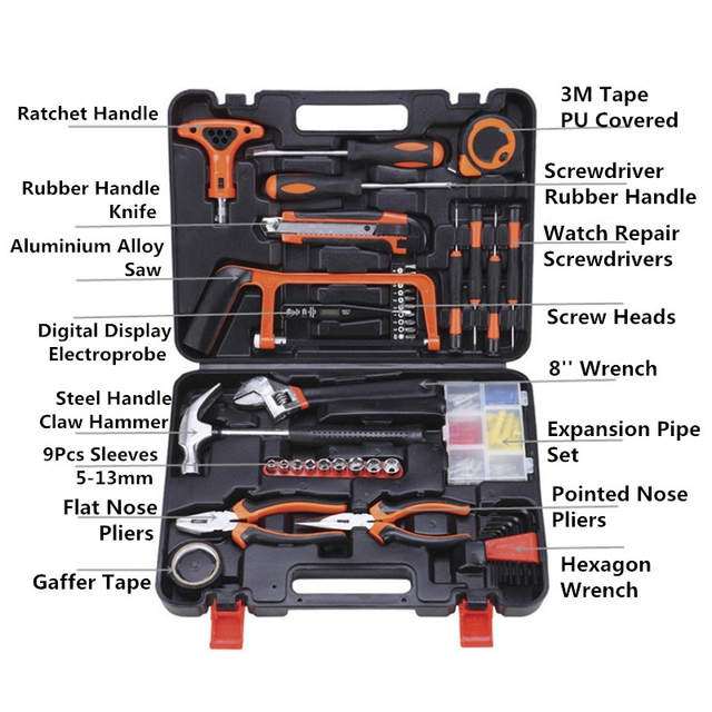 9811074191d placeholder 82pcs Combination tool accessories diagnostic multi-function  hand tool box set Spanner household multi case
