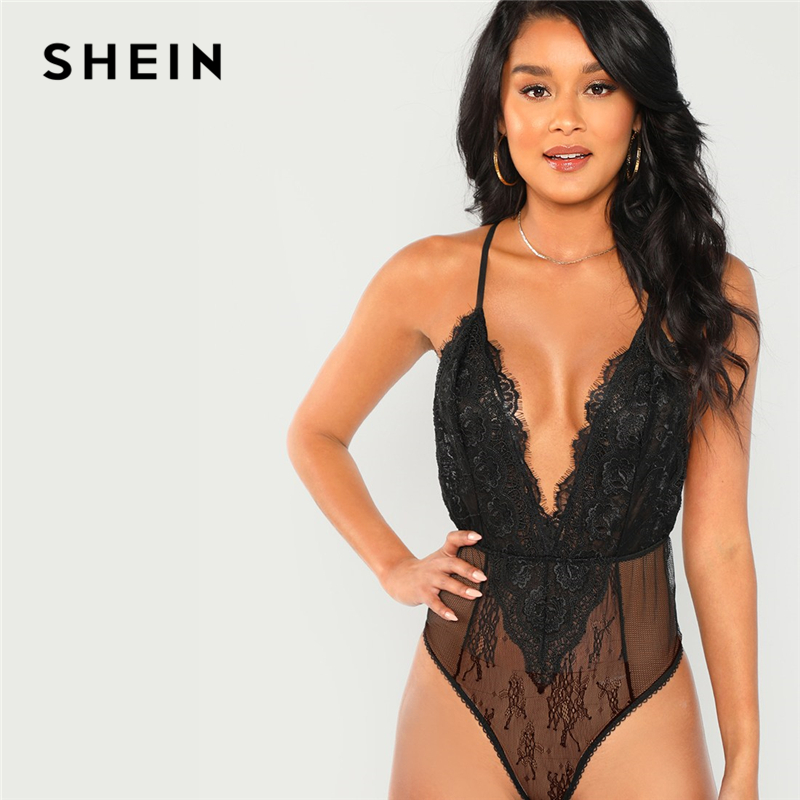 SHEIN Black Sexy Plunging Neck Sheer Contrast Lace Sleeveless Cami Spaghetti Strap Bodysuit 2019 Sexy Women Summer Bodysuit