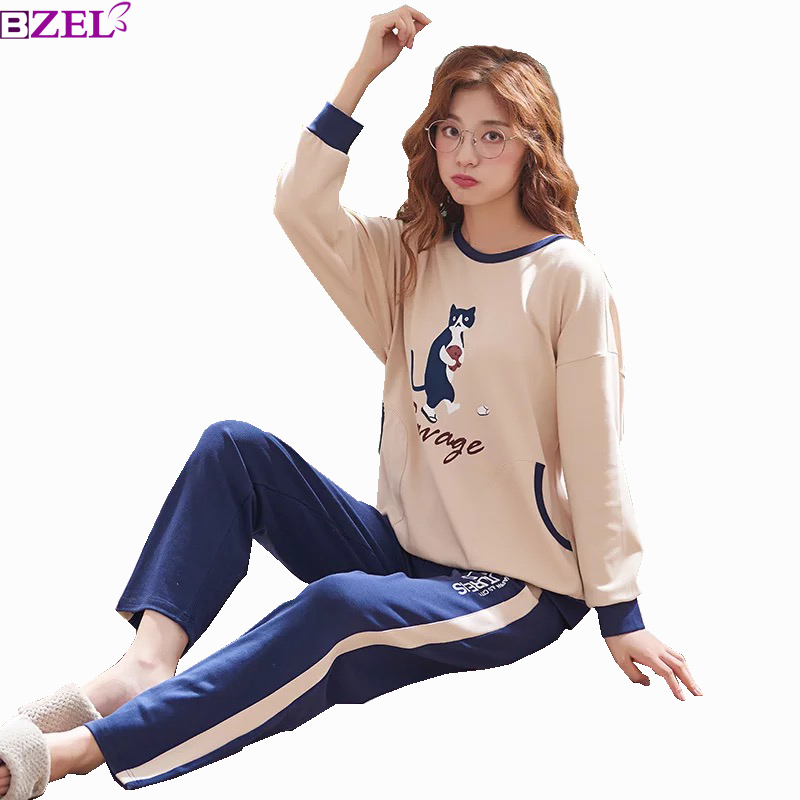 Spring and Autumn New Ladies   Pajamas     Set   Nightwear Female Pure Cotton Long Sleeve Household Clothing Two Piece   Sets   Many Color