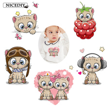 Nicediy Lovely Cats Iron on Transfer for Clothes Heat Transfer Vinyl Sticker For Kid Animals Patches Applique Washable Badge DIY цена