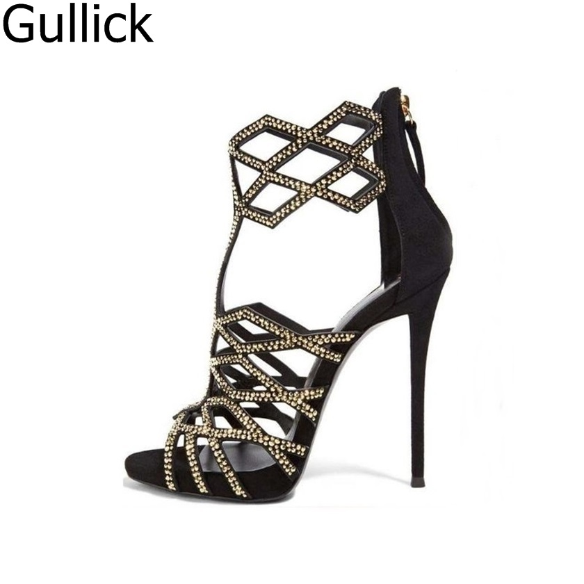 Hot Selling Woman Summer Crystal Embellished Hollow Out Sandals Fashion Geometric Shape Cover Heel Back Zipper Shoes High Heels hot sale crystal embellished strappy sandals beige suede cut out cage shoes for women back zipper high heel summer dress shoes