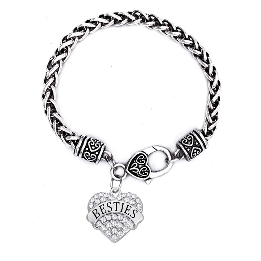 Metal Alloy Rhodium Plated Rhinestone Stone Hearts Best Friends Besties Bracelets For Friendship