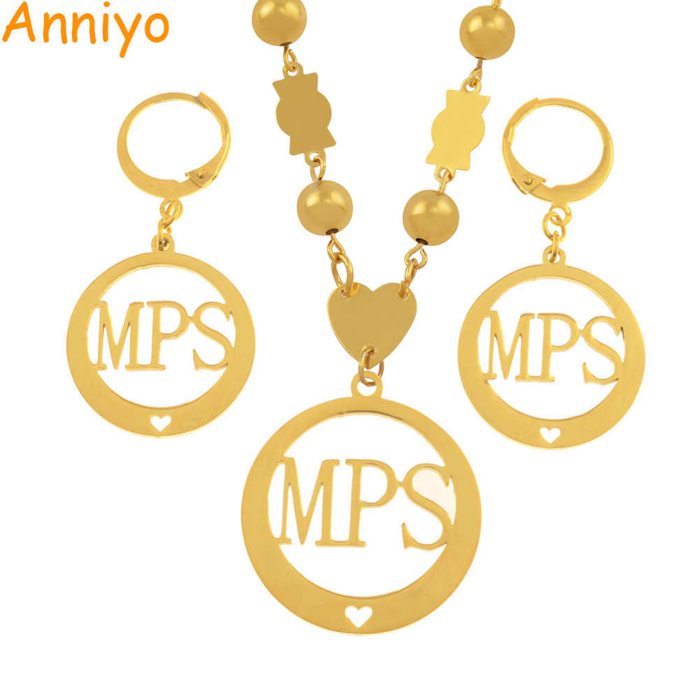 Anniyo Micronesia PMS Initial Jewelry sets With Beads Pendant Necklaces and Earrings for Women Marshall Styles Gifts #036021S