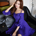 Dabuwawa deep purple open shoulder special occassions dress