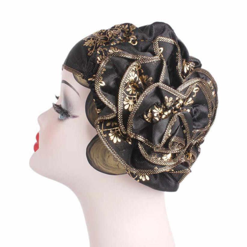 New2018 New Design Women Ladies Retro Big Flowers Hat Turban Brim Hat Cap  Pile Cap hats for women female beret boina feminina